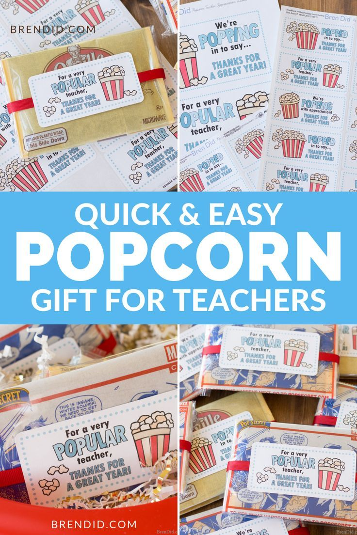 Treat your teachers with this cute & customizable popcorn gift! Simple to make &...