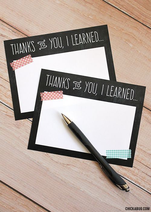 Free teacher appreciation notes by Chickabug. A handwritten note to the teacher ...