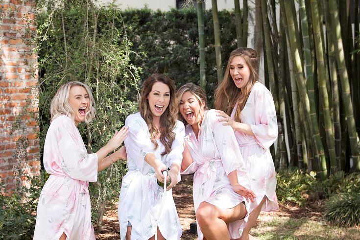 Pink Bridesmaid Robes - Blush and White Wedding - Los Feliz Wedding