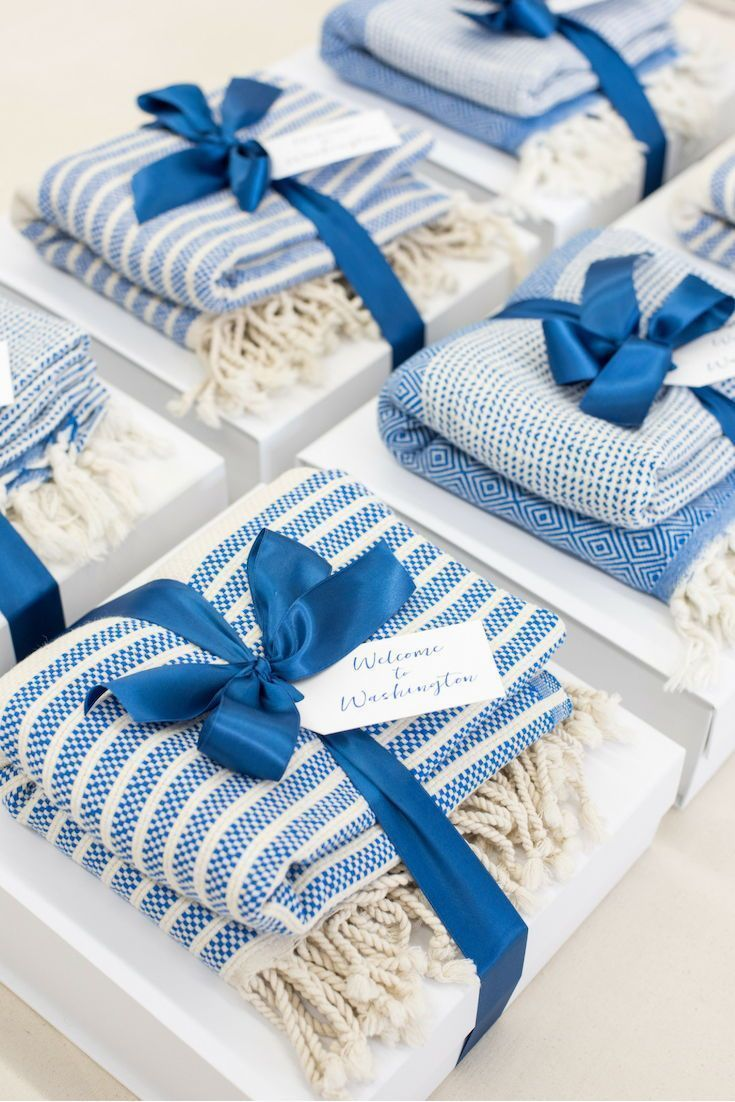 CORPORATE EVENT GIFTS// Blue and white DC theme corporate event welcome gift box...