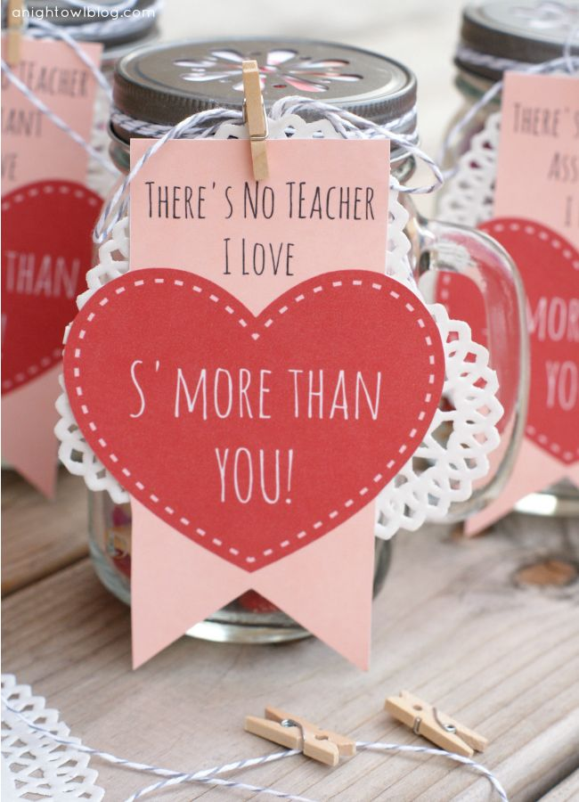Adorable Teacher Valentines Day gifts! Mason jars filled with s'mores snack mix....