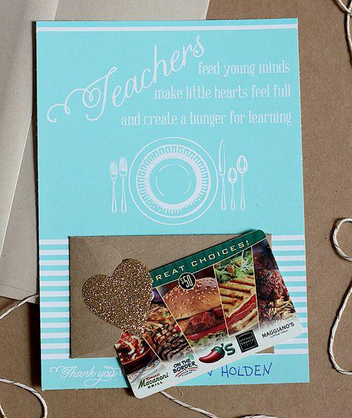 Back to school teacher gift idea: free printable gift card holder #print #backto...