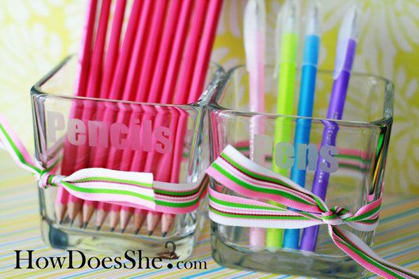 DIY Teacher Appreciation Gift: etched glass pencil holder. #diy #teacher #apprec...
