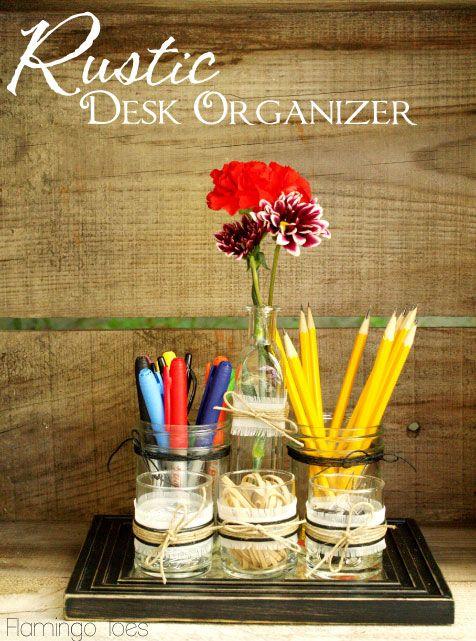 DIY desk organizer shared by Flamingo Toes for Teacher Appreciation