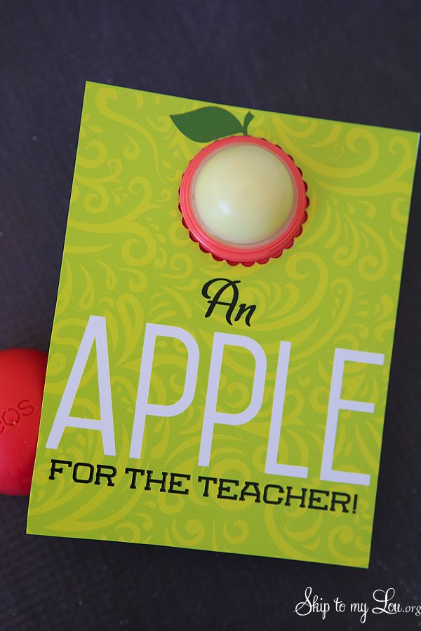 Easy and inexpensive free printable teacher gift idea: EOS lip balm holder and n...