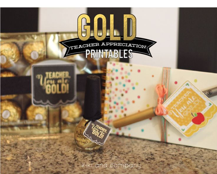 Gold Teacher Appreciation printables from kiki and company for Skip to my Lou #t...