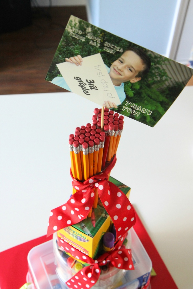 How to make a Teacher School Supplies Cake from MomAdvice.com.
