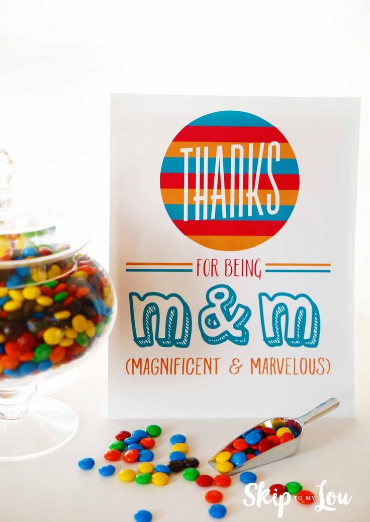 M & M appreciation sign for teacher lounge. Free printable signs to pair with tr...
