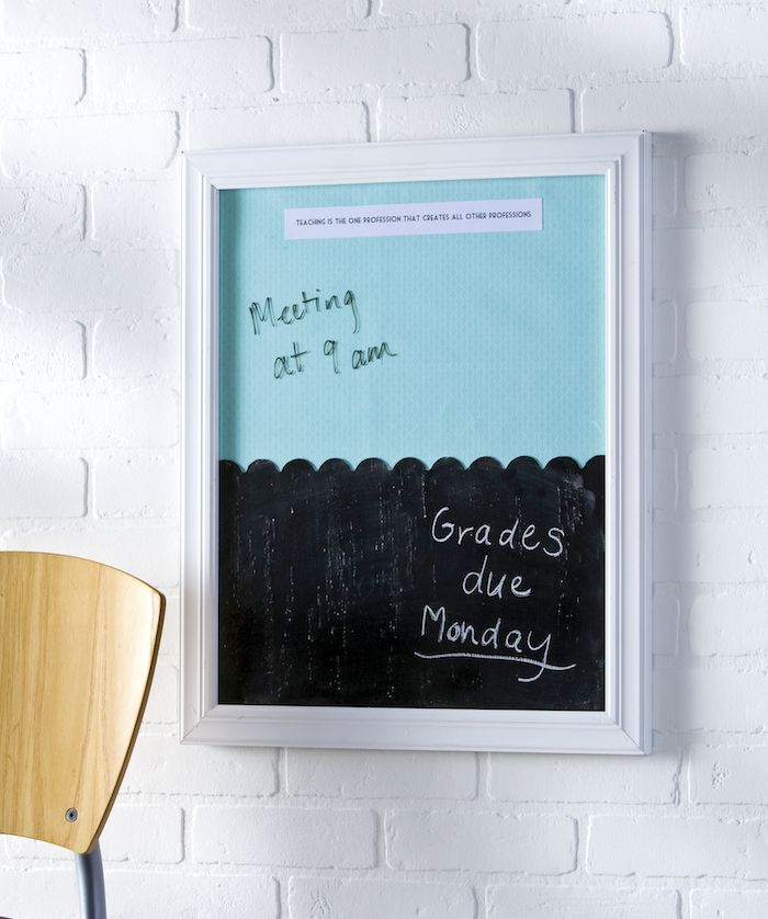 Make a dry erase board AND a chalkboard out of one frame! Great thank you gift f...