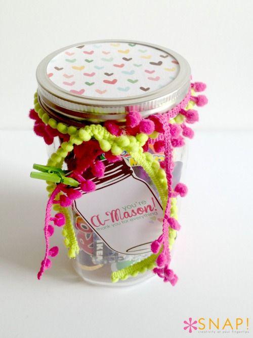 Mason Jar Thank You Gift via Tauni (SNAP!) for Skip to my Lou #gift #teacher #ja...