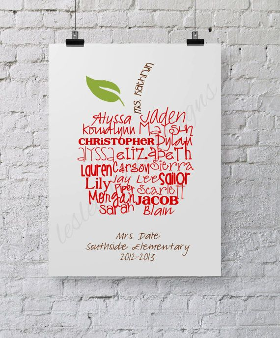 Perfect Teacher's Gift... Typography Art by lesleygracedesigns #teacher #gift #a...