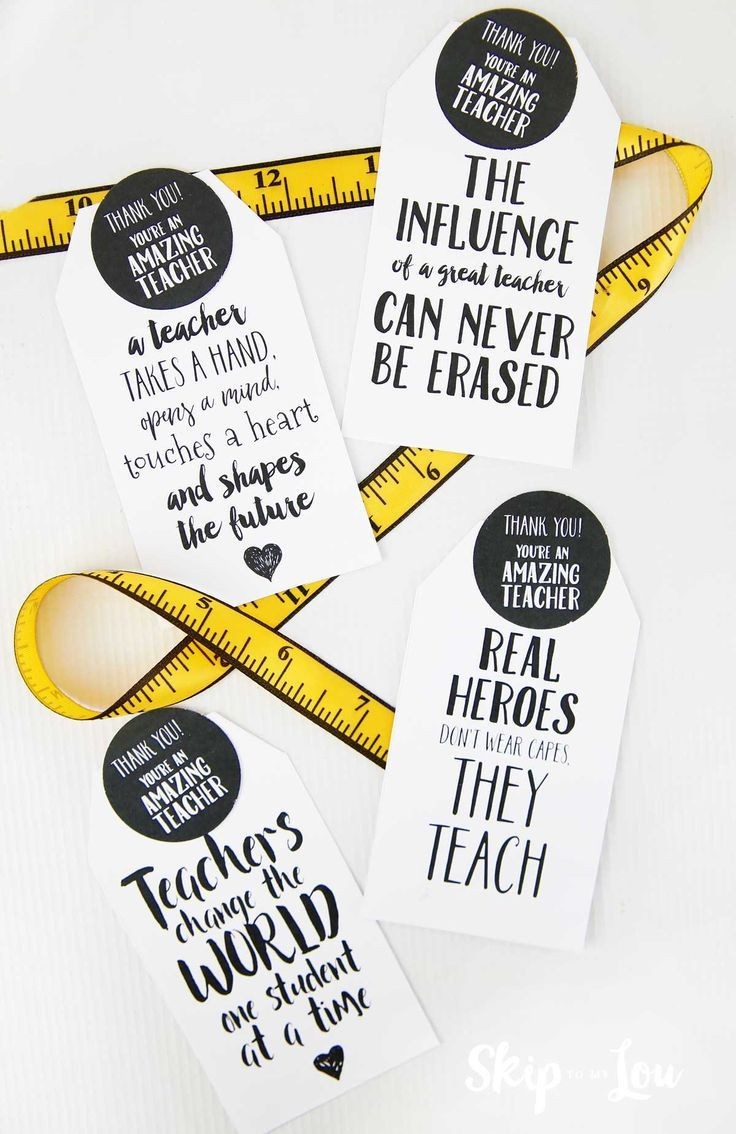 Printable teacher gift tags with measuring tape ribbon. Perfect for a teacher ap...