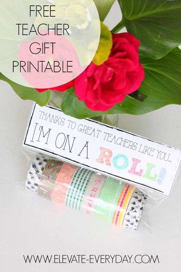 Teacher Appreciation Printable Gift Tag topper to pair with washi tape