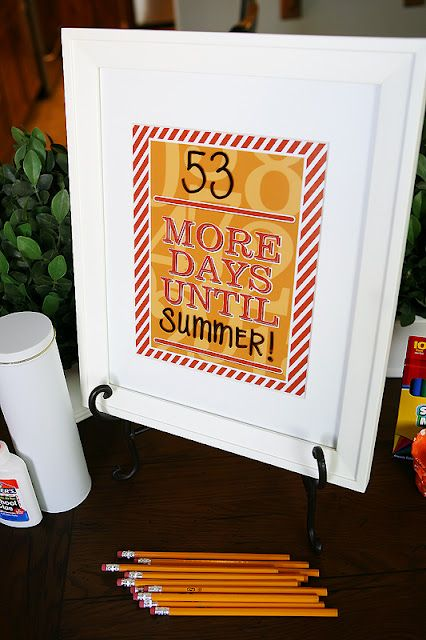 The girls at eighteen25 shared this DIY wipe off countdown frame for teacher app...
