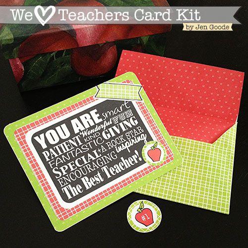 We Love Teachers Printable Card Kit by Jen Goode www.skiptomylou.org #teachergif...