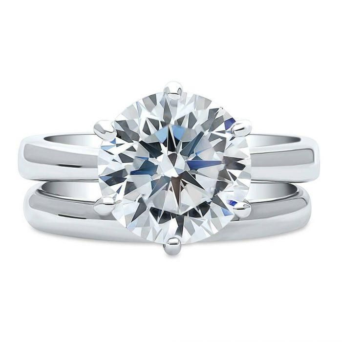 A Perfect 4CT Round Cut Solitaire Russian Lab Diamond Bridal Set