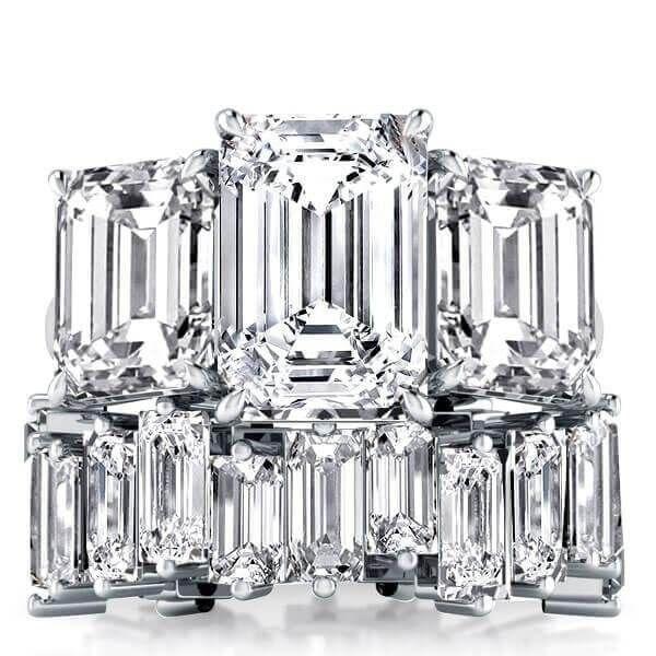 A Stunning 10.5TCW Emerald Cut Sapphire Bridal Set