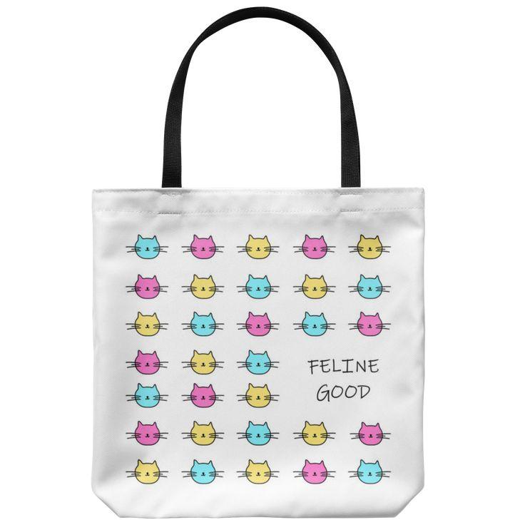 Feline Good Cat Pattern Tote Bag. Cute book bag for teens. Meow! 🐱 🐱 🐱