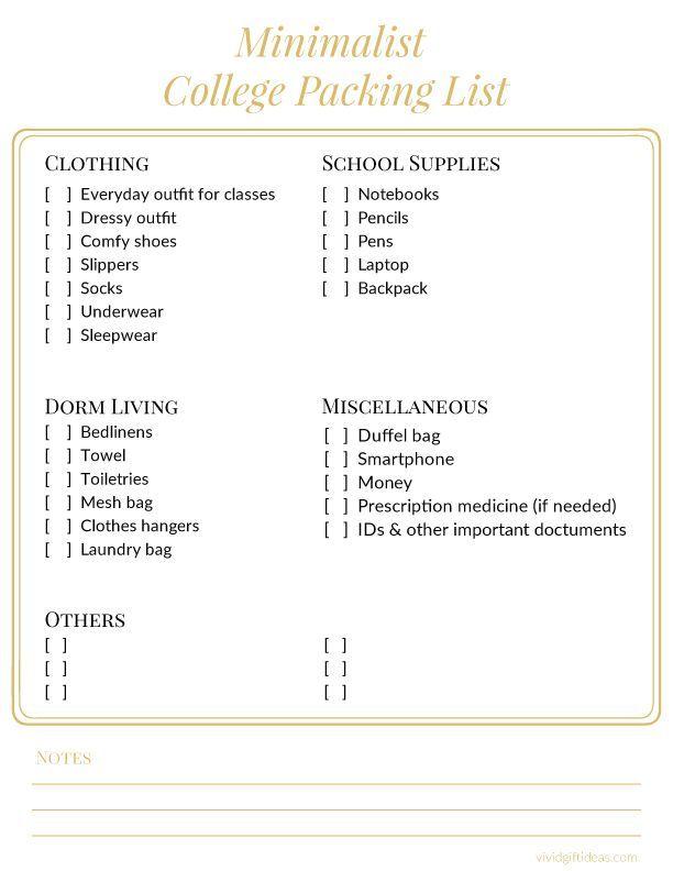 Minimalist College Packing Checklist for Girls