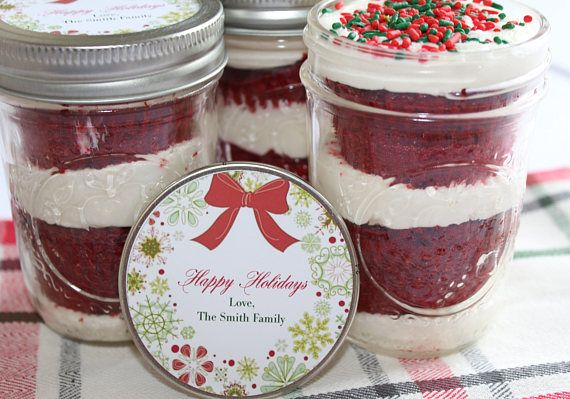 6 (8oz) Cupcakes In A Jar-Mason Jars-Happy Holidays-Corporate Gifts-Coworker Gif...