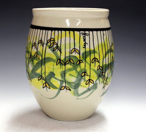 Ceramic and pottery wedding gift or corporate gift , porcelain vase , hand paint...