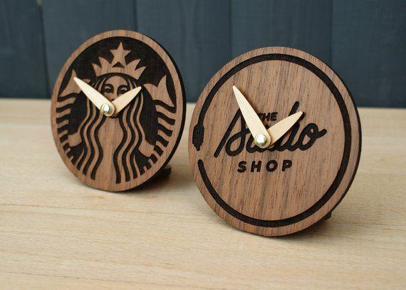 Custom engraved clock Corporate gift Company logo clock wood desk clock, CEO per...