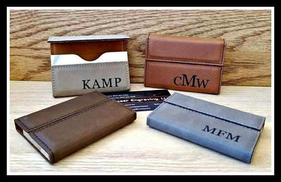 Leather Business Card Holder Custom Engraved Boss Gift #monogram#weddingplanning...