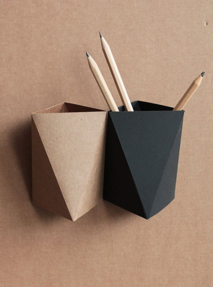 Origami Paper Box Desk Pen Holder — by KingKongDesignShop