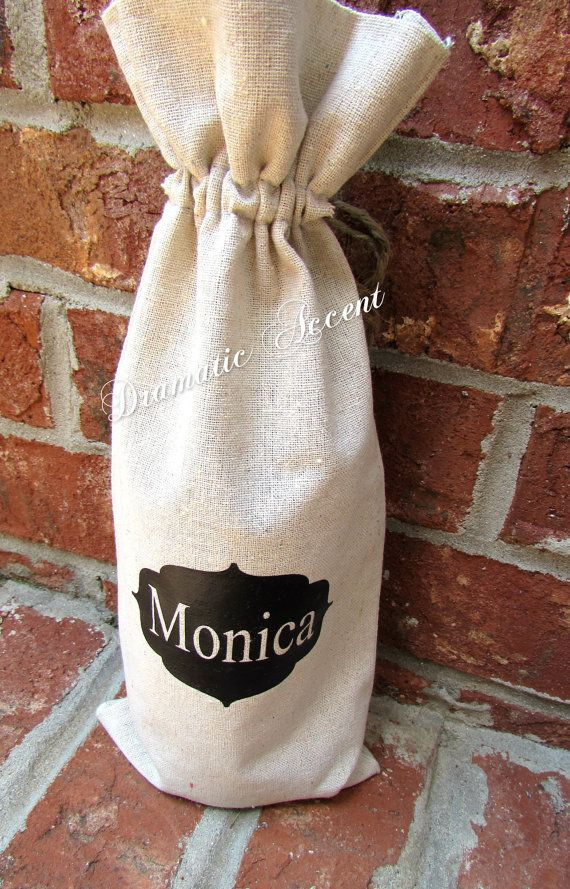 Personalize Wine Bag, Monogram gift bag, Corporate Gift - Wedding Favor -Unique ...
