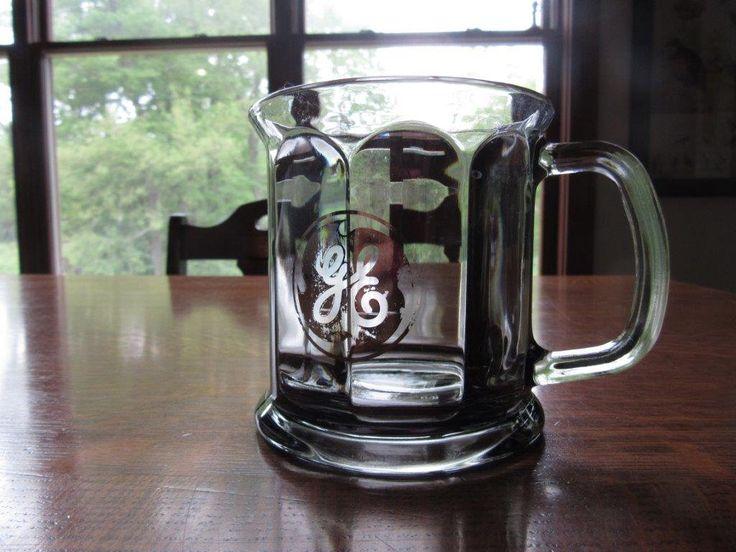 Vintage GE General Electric Smoked Glass Mug,Cup,GE Logo,Emblem,Corporate Gift,M...