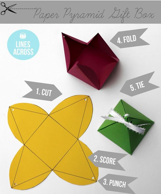 Make these easy pyramid gift boxes: | 24 Cute And Incredibly Useful Gift Wrap DI...