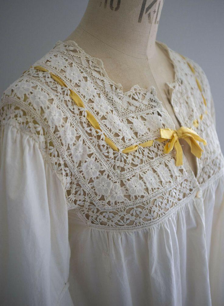 Antique French cream cotton cambric nightdress - yellow silk ribbons   eBay So p...