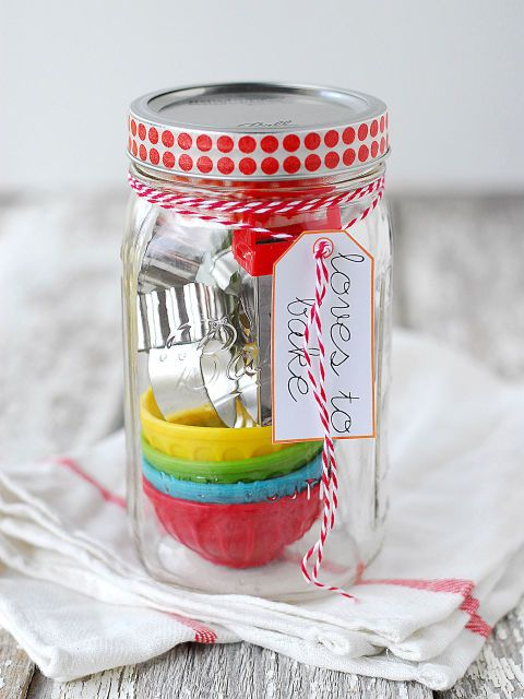 Make a quick trip to the dollar store, tie with fun yarn, and add a cute tag.