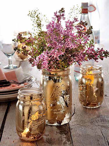 Give mom an arrangement in a gilded Mason jar!