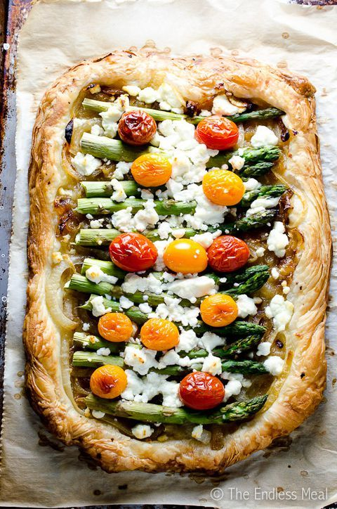 Thanks to a store-bought puff pastry, this savory tart is whipped up in nearly n...