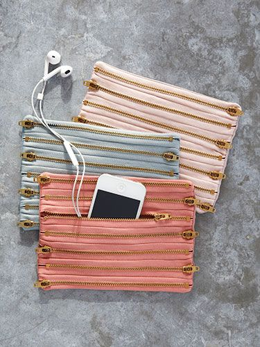 These chic pouches are easy to make! All you need is a handful of zippers, some ...