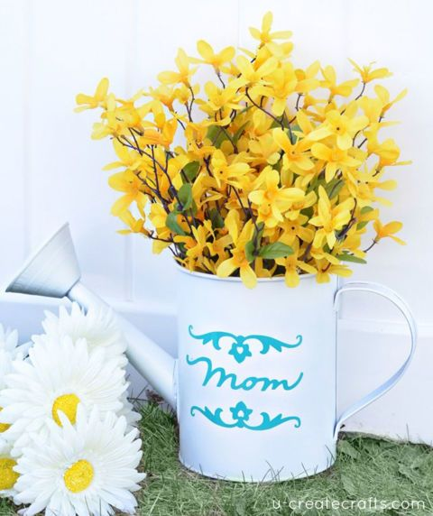 Transform a watering can into a rustic vase by adding a coat of spray paint in y...