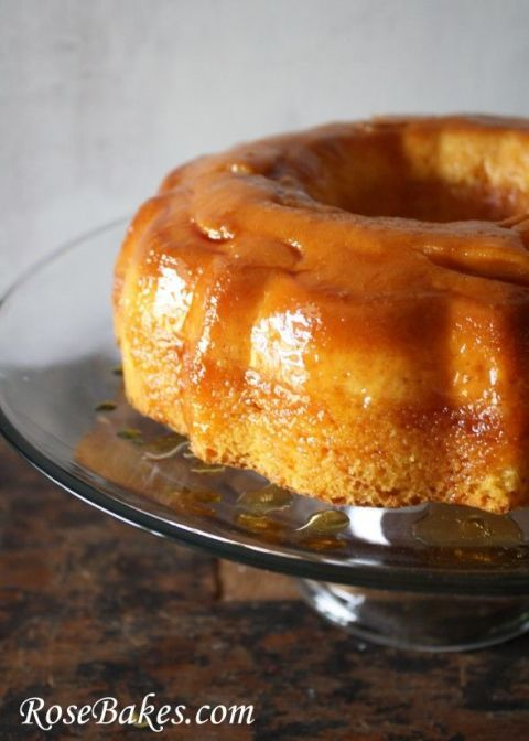 Turn this classic custardy dessert flan into a cake; bake in caramelized sugar t...