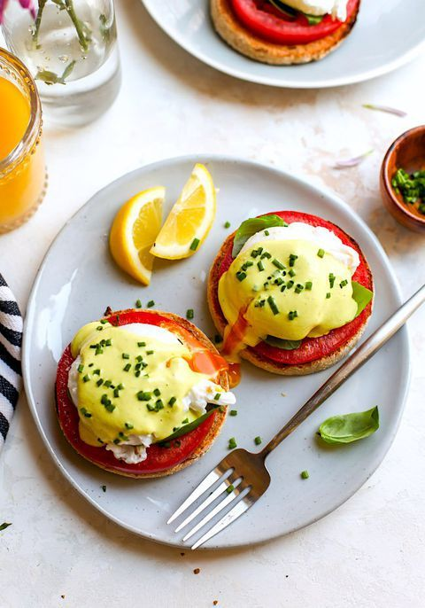Upgrade a classic eggs Benedict with fresh heirloom tomatoes.  #mothersday #brun...