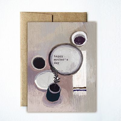 This Mother's Day card had a beautiful illustration of coffee and plates.