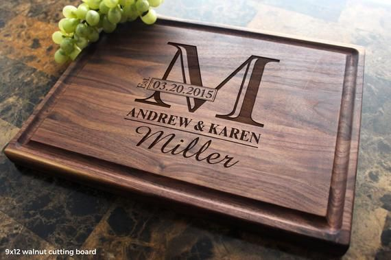 Personalized Engraved Cutting Board - Wedding Gift, Anniversary Gift, Housewarmi...