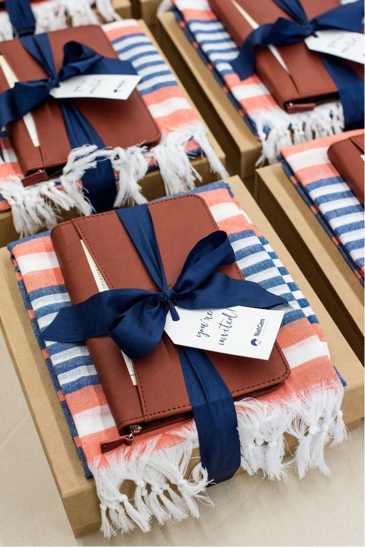 CORPORATE EVENT GIFT BOX// Beige, blue and salmon luxury gift boxes custom desig...
