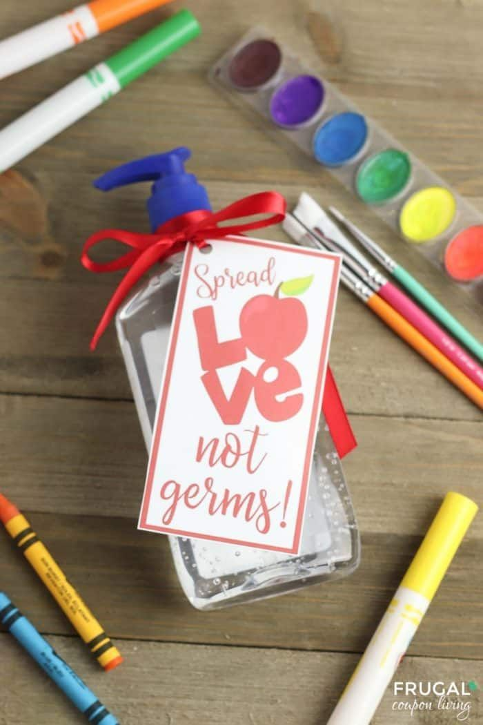 Spread Love, Not Germs. This funny Hand Sanitizer Teacher Gift has an adorable p...