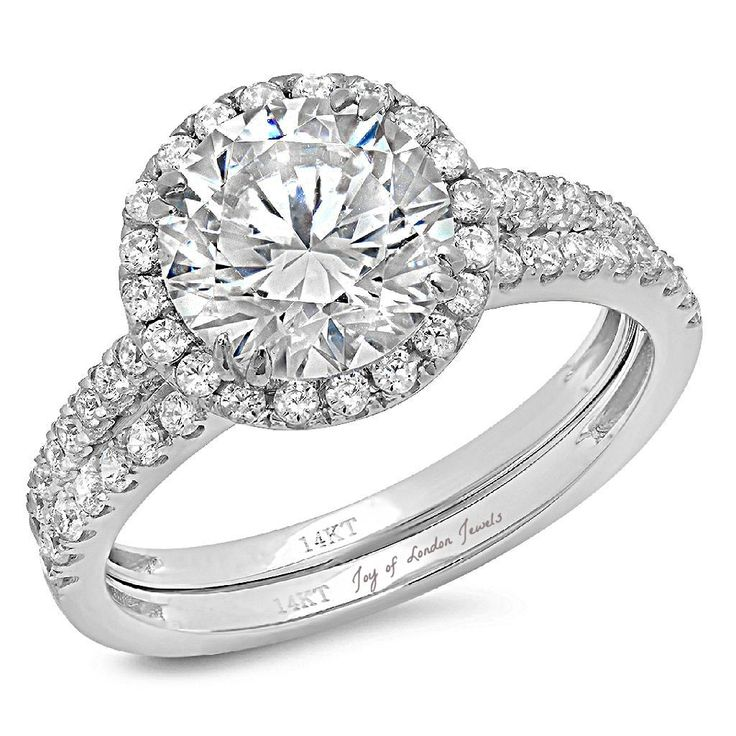 14K White Gold 2.7CT Round Cut Russian Lab Diamond Halo Engagement Ring