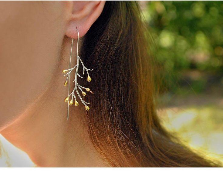 14K Yellow Gold & Sterling Silver Leaf Drop Earrings