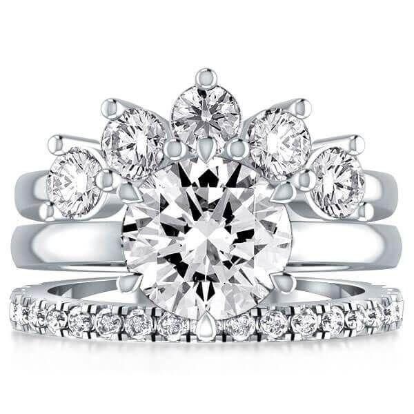 A Stunning Crown 2CT Round Cut Sapphire Bridal Set