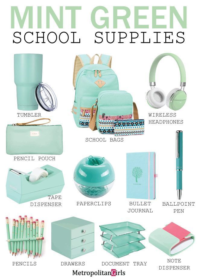 Mint green school supplies and stationery #pastel #mint