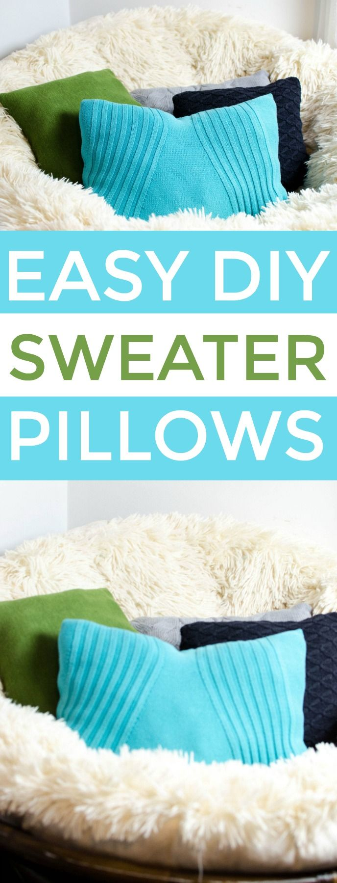 These DIY sweater pillows are a great way to reuse an old sweater and turn them ...