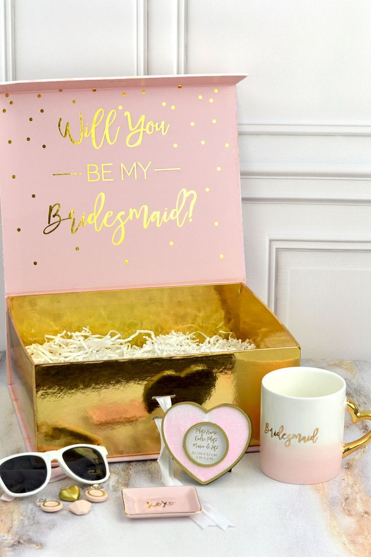 Ask your closest girls to be a part of your wedding day with pre-filled pink and...