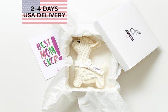Congratulations best mom ever Corporate gift box with crochet llama stuffed farm...